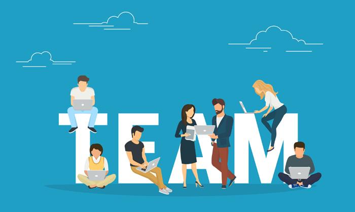 concetto animato team unito